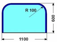 Kalené sklo - zaoblený obdelník malý - 6 mm
