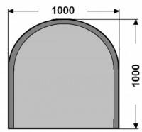 Kalené sklo - půlkruh - 6 mm - kouřová šedá