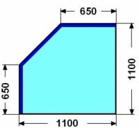 Kalené sklo - zkosený čtverec - 8 mm
