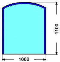 Kalené sklo - zaoblený obdelník - 6 mm