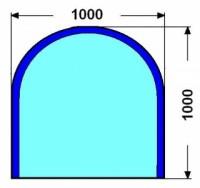 Kalené sklo - půlkruh - 6 mm