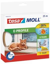 Okenní a dveřní těsnění Economy guma TESA E profil 25 m x 9 mm x 4 mm bílá 05464-102