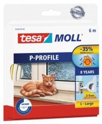 Okenní a dveřní těsnění Economy guma TESA P profil 6 m x 9 mm x 5,5 mm bílá 05390-102