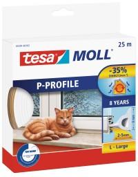 Okenní a dveřní těsnění Economy guma TESA P profil 25 m x 9 mm x 5,5 mm bílá 05391-102