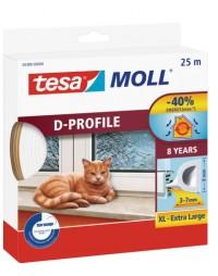 Okenní a dveřní těsnění Economy guma TESA D profil 25 m x 9 mm x 7 mm bílá 05389-00