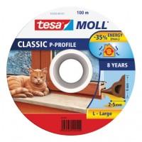 Samolepicí okenní a dveřní těsnění guma TESA profil P 100 m x 9 mm x 5,5 cm hnědá 55703-101