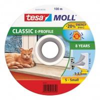 Samolepicí okenní a dveřní těsnění guma TESA profil E bílá 100m x 9 mm x 4 mm 57701-100