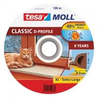 Samolepicí okenní a dveřní těsnění guma TESA profil D hnědá 100m x 9 mm x 8 mm 55706-101