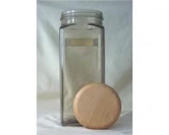 Dóza skleněná s dřevěným víkem KUBÍK 2,5 l