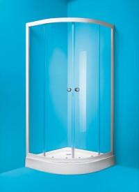 Čtvrtkruhový sprchový kout Madrid 90 x 90 x 185 cm sklo čiré včetně vaničky