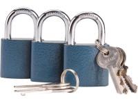 zámky visací sjednocené na jeden klíč, sada 3ks 93101 Extol Craft