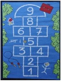 Dětský koberec Skákací panák modrý 100x150 cm