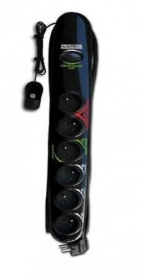 HBF úsporná přepěťová ochrana se šesti zásuvkami 230V v černém provedení