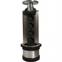 HBF výsuvná zásuvková lišta se 4 zásuvkami 230V a LED podsvícením, 1,5m kabel