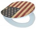 Softclose WC sedátko AMERICAN FLAG s povrchom vo vysokom lesku