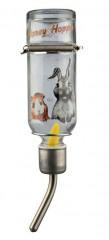Skleněná napáječka s kovovým pítkem pro králíky 500 ml