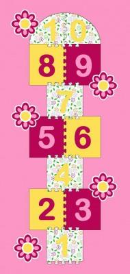 Dětský koberec Skákací panák růžový květiny 95x200 cm