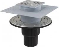 Podlahová vpust 105 105/50/75 přímá mřížka nerez nerezová příruba a límec 2 úrovně izolace APV4344