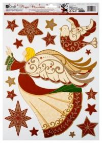 dpCraft Samolepka na okno brokátová – červeno-zlaté, anděl a hvězdy, (MCNA-006-3)