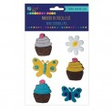 dpCraft Filcové 3D samolepky - muffinky a motýle, 6 ks, (KSFI-032)