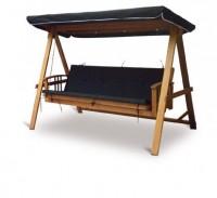 Zahradní luxusní houpačka VeGA Lux Black lůžková úprava dřevo meranti