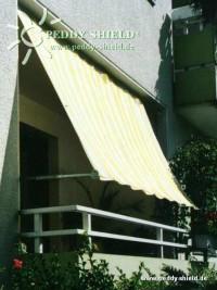 Sluneční plachta 270 x 140 cm – barva pruhů žluto-bílá