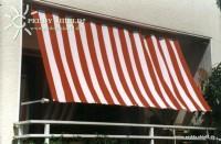 Sluneční plachta 270 x 140 cm – barva pruhů červeno-bílá