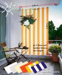 Šikmá sluneční plachta 230 x 140 cm – barva pruhů žluto-bílá