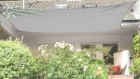 Čtyřúhelníková sluneční plachta 4 x 5 m – stínicí tkanina – barva šedá