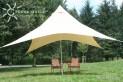 Kempingová slnečné plachta (4) pyramída 4 x 4 m - pieskovej farby - ochrana proti slnku a dažďu pre celú rodinu