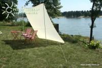 Kempingová sluneční plachta (2) 2,5 x 3 m - pískové barvy - praktická ochrana před sluncem a ochrana soukromí při pikniku i kempování