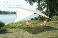 Kempingová sluneční plachta (3) 4 x 4 m - pískové barvy - ochrana proti slunci a ochrana soukromí