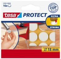 tesa Plstěná samolepicí podložka pod nábytek, kruhový výsek ? 18mm, bílá, balení 16ks 57892-00000-01