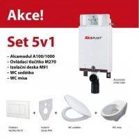 Set závěsného WC a instalačního modulu Alcaplast 5v1 pro obezdění