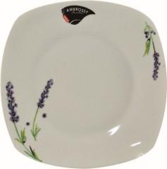 Talíř dezertní 18,5x18,5 cm levandule porcelán hranatý 491445