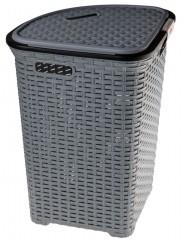 Koš na prádlo 52 l plast / ratan rohový šedý 3710053