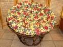 Papasan tmavý 100 cm květinový polstr