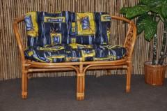 Ratanová lavice Bahama medová polstr modrý list