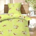 Obliečky bavlna do postieľky - Šteňa zelené 1x 90 / 130 + 1x 60 / 45