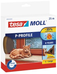 Fotogalerie: Okenné a dverové tesnenie Economy guma TESA P profil 25 mx 9 mm x 5,5 mm hnedá 05391-103