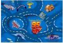 Detský koberec Cars modrý šírka 4 m dĺžka podľa priania s obšitím