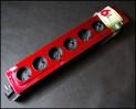 HBF predlžovací kábel 1,5 m so 6 zásuvkami a vypínačom - červený