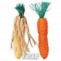 Sisalová mrkvička a kukuřice pro hlodavce 15 cm (2 ks)