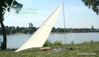Fotogalerie: Kempingová slnečné plachta (1) 3 x 3 x 2,5 m - pieskovej farby - ochrana proti slnku a ochrana súkromia pre menšie rodinu - plážová slnečné plachta